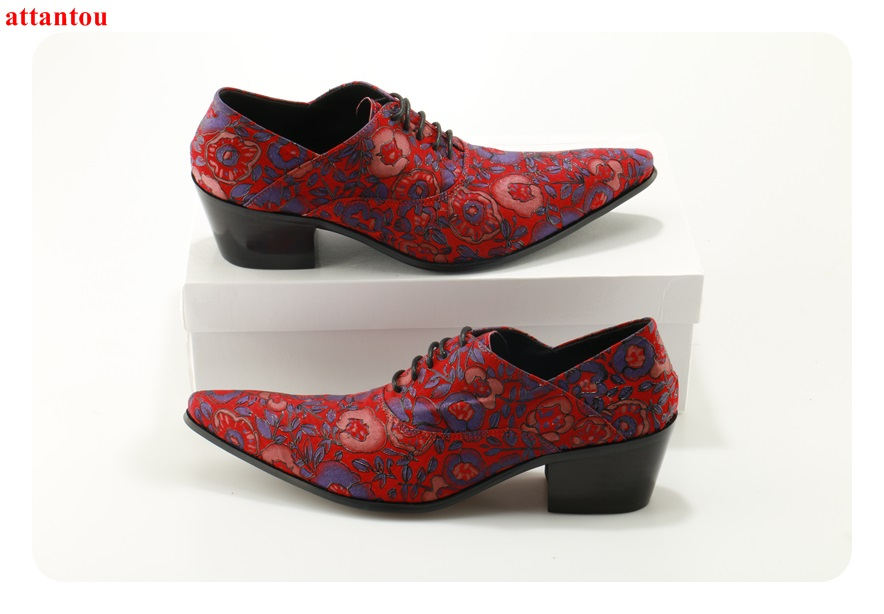 Здесь продается  ATTANTOU 2018 Newest Fashion Men Shoes Red Embroidered Lace Up Decor Pointed Toe Man Dress Shoes Office Formal Single Shoes  Обувь