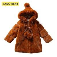 Для маленьких девочек Детская куртка с капюшоном толстые длинное меховое пальто с длинным рукавом теплая Зимняя одежда 2018 модная верхняя о