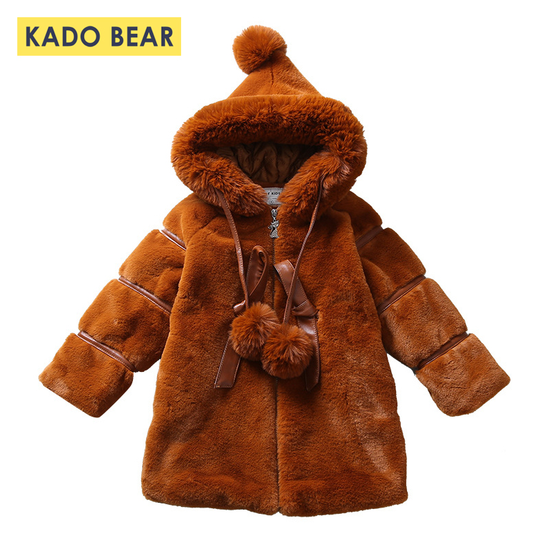 Baby Girls Kids Hooded Jackets Thick Long Fur Coat Long Sleeve Warm Girl Winter Clothes 2018 Fashion Outerwear Coats Snowsuit gothic lolita style two wear woolen imitation fur coat steampunk autumn winter fashion long sleeve hooded long jackets