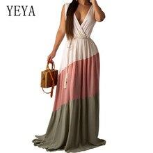 YEYA Summer Bohomian Women Vintage Maxi Dress Sexy Deep V-neck Hollow Out Patchwork Femme Beach Casual Activities Sundress