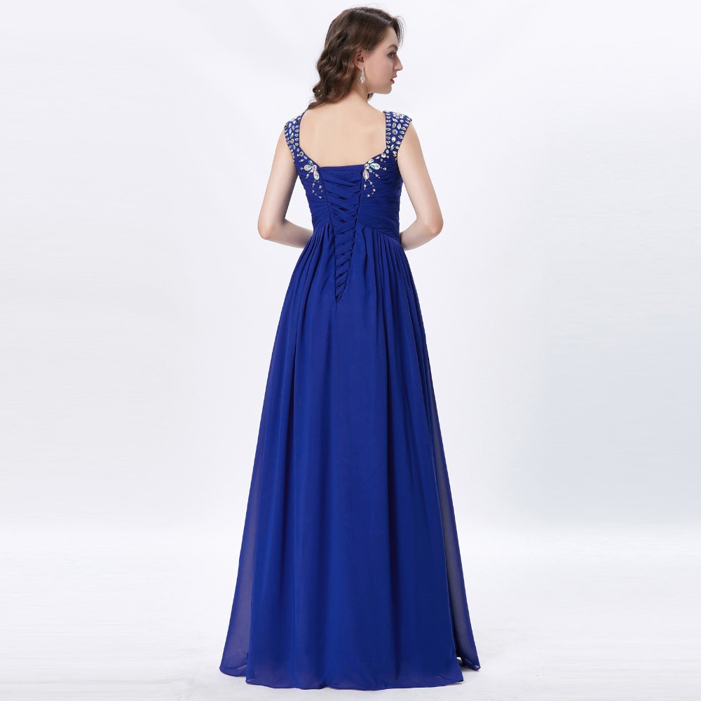 Grace Karin Womens Evening Dresses 2017 Chiffon Elegant Royal Blue Formal Dresses Evening Wear Beaded Long Wedding Party Gowns 10
