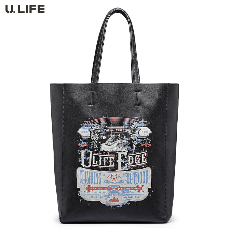 U.LIFE - High-end Graffiti Works Deco Gurantted New Personized Genuine Leather Soft Men's Handbags Long Champan Bag Bucket J50