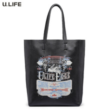 U.LIFE – High-end Graffiti Works Deco Gurantted New Personized Genuine Leather Soft Men's Handbags Long Champan Bag Bucket J50