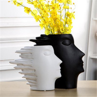 Flower Vase For Flowers Aecoration Accessories Ceramic Vases White And Black Head Shape Abstract Human Head Ornaments X2079