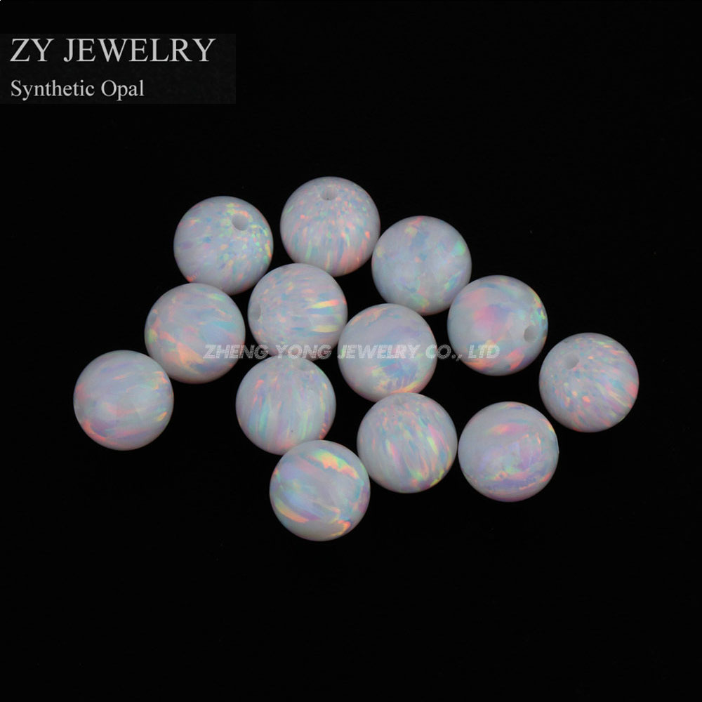 10pcs/Lot Free Shipping OP17 white Hot Sale Synthetic Full Drilled Round Ball Opal Beads Synthetic Opal Stone Price