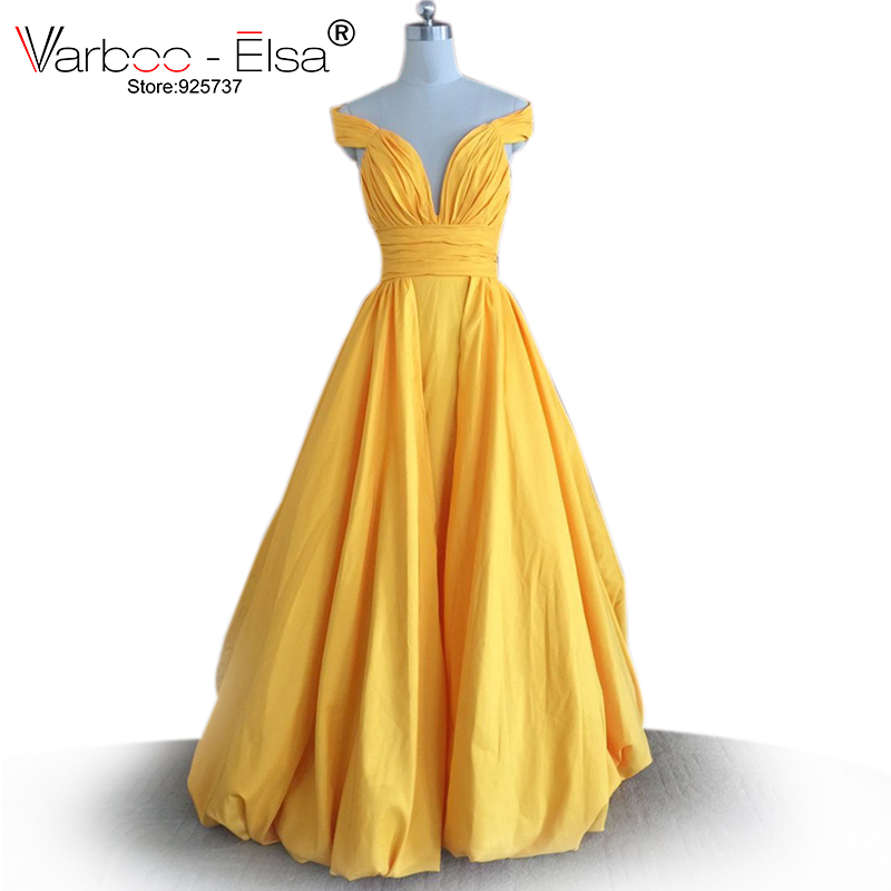VARBOO_ELSA long yellow prom dress off the shoulder sexy v