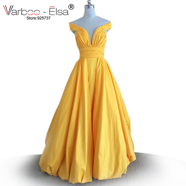 a674287eafc6 VARBOO_ELSA long yellow prom dress off the shoulder sexy v neck backless prom  dresses 2018 taffeta