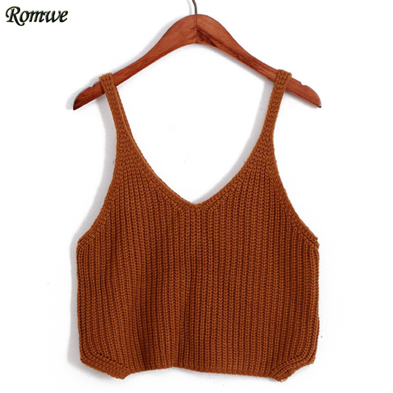 d1445454ce9 ROMWE Casual Knitted Top For Women Regata Feminina Spaghetti Strap Crop  Khaki High Street Fashion European Style Knit Camisole-in Camis from Women s  ...