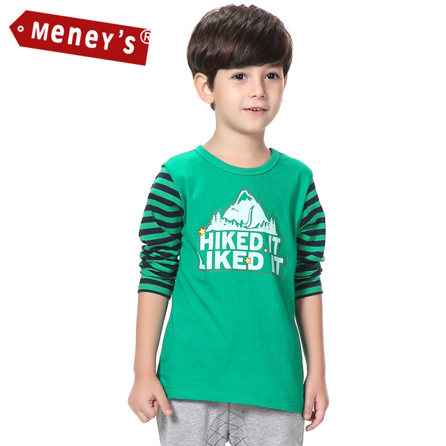 Kids T-shirts Boys Green Outdoor T shirt for Boys Striped Long Sleeve Kid Clothes O-neck Cartoon Children Tshirts Boy Tops