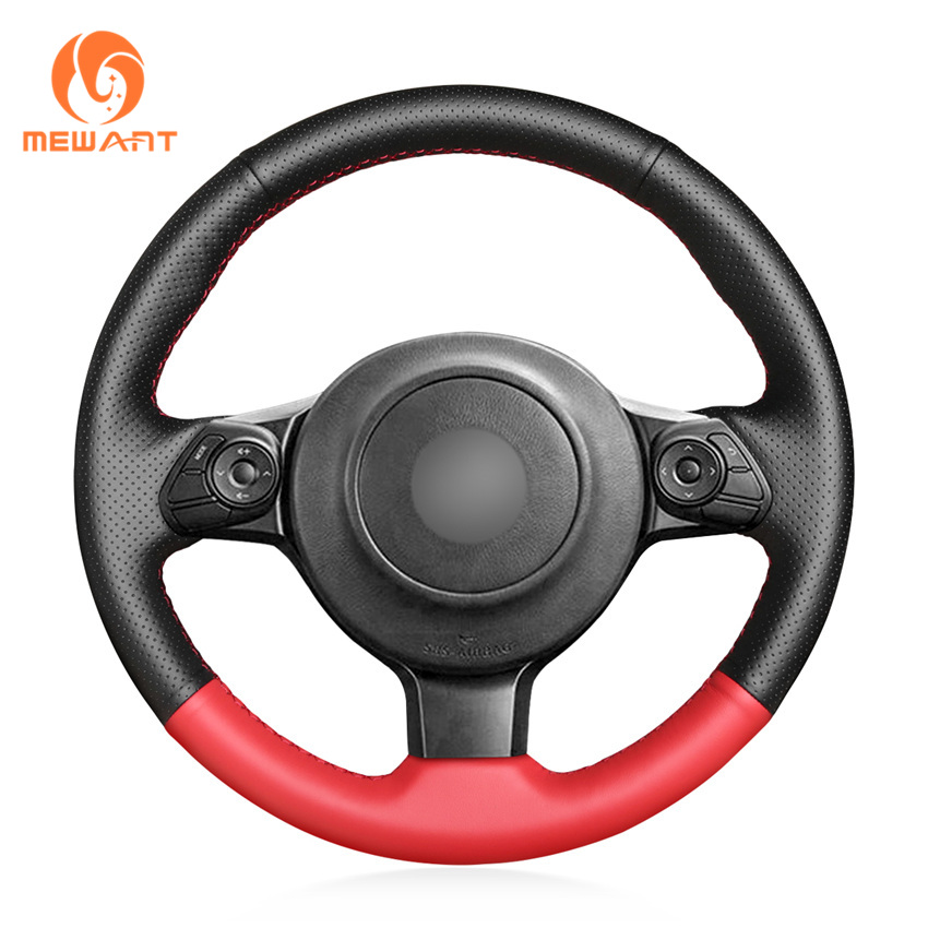 MEWANT Black Red Artificial Leather Car Steering Wheel Cover for Toyota 86 2016 2017 2018 2019 Subaru BRZ 2016 2017 2018 2019|Steering Covers| |  - title=