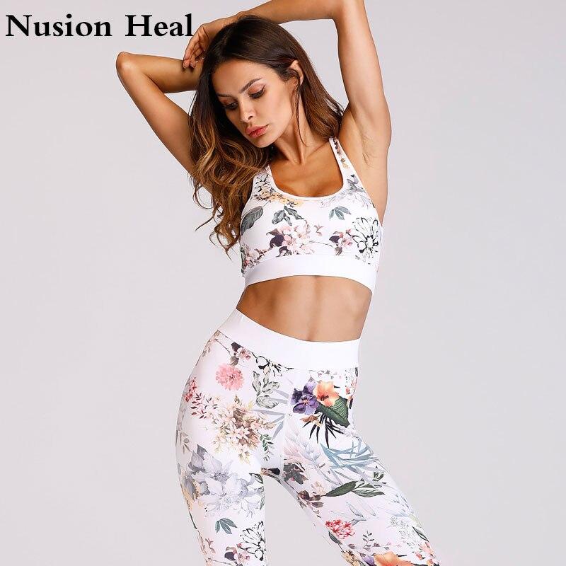 Printed Yoga Pant + Sport Yoga Bra Top Women High Waist Yoga Legging Sports Tight Fitness Pants Slim Running Leggings Trousers