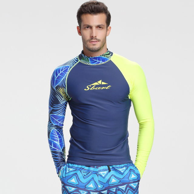 d39bf346711c4 M-3XL Plus Size Sun Protection Wetsuit Tops Man Long Sleeve Lycra Swimwear  Rash Guard Men UPF50+ Print Swimming Diving T-Shirts