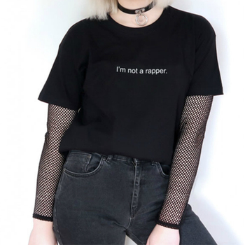 Harajuku 2018 Black T Shirt Women Men Unisex Tops Kendall Jenner I'M NOT A RAPPER Letters Print Tee Shirt Casual Tumblr