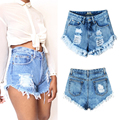 Women Fashion Vintage Tassel Ripped Loose High Waisted Short Jeans Punk Sexy Hot Woman Denim Shorts -MX8