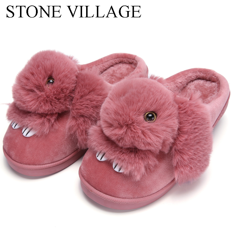 High Quality Women Slippers Lovely Rabbit Animal Prints Solid Flat Indoor Shoes Winter Plush Warm Home Slippers Size 36-43 1