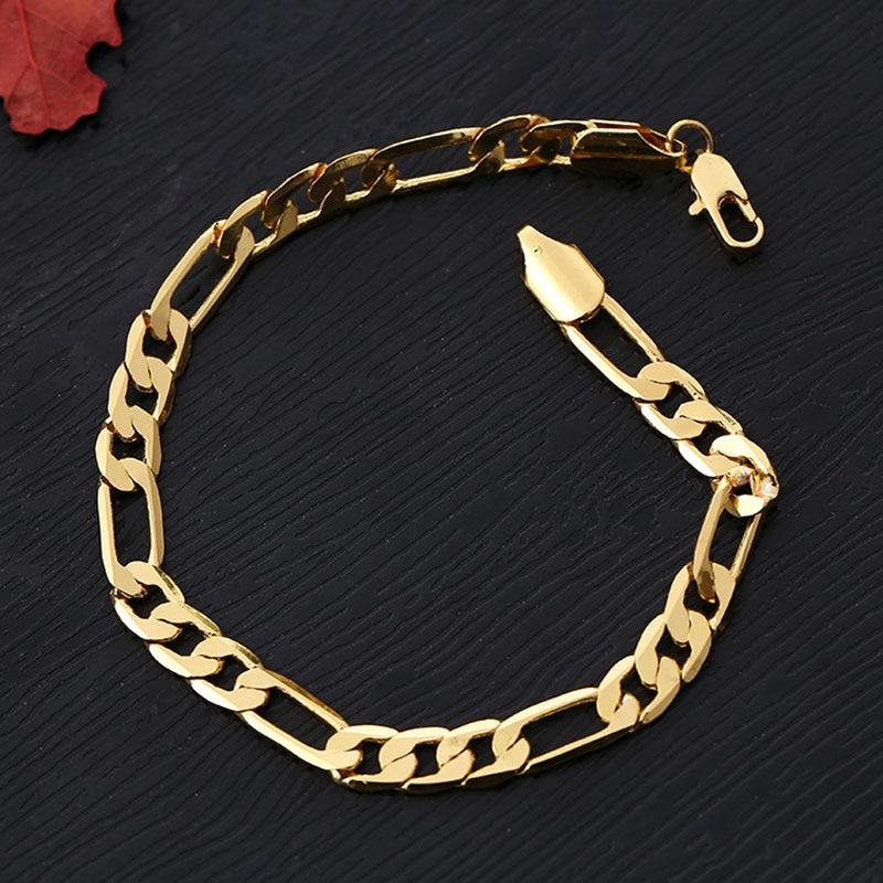 2018 Fashion 6mm Classic Chain Bracelet Gold Silver Color
