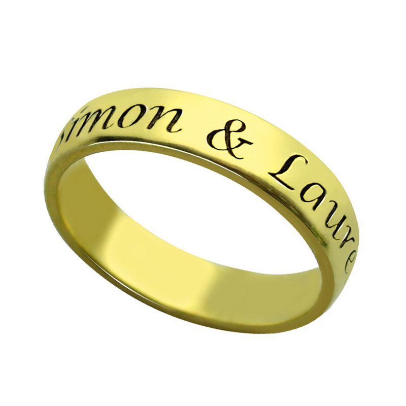 Personalized Name Engagement Ring Silver 925 Custom Letter Gold Big Promise Rings Jewelery Gifts for Women