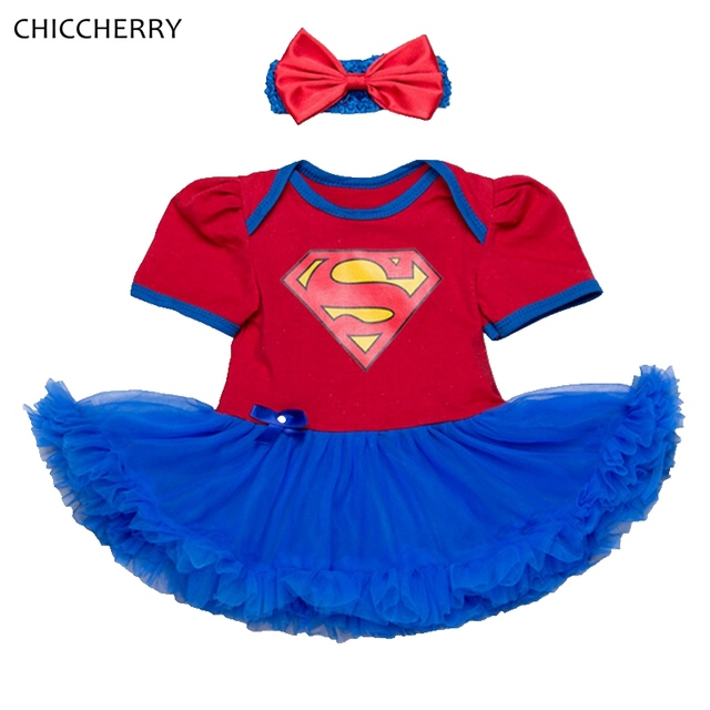 Superman Costume Lace Tutu Baby Girl Dress Headband Vestido Infantil Robe Bebe Fille Toddler Birthday Outfits Infant Clothing