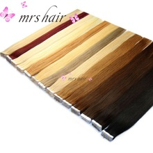 "MRSHAIR P18/613# Tape In Human Hair Extensions Mixed Blonde Brazilian hair straight Double Sided Tape Extensions 20pcs 16"" - 24"""