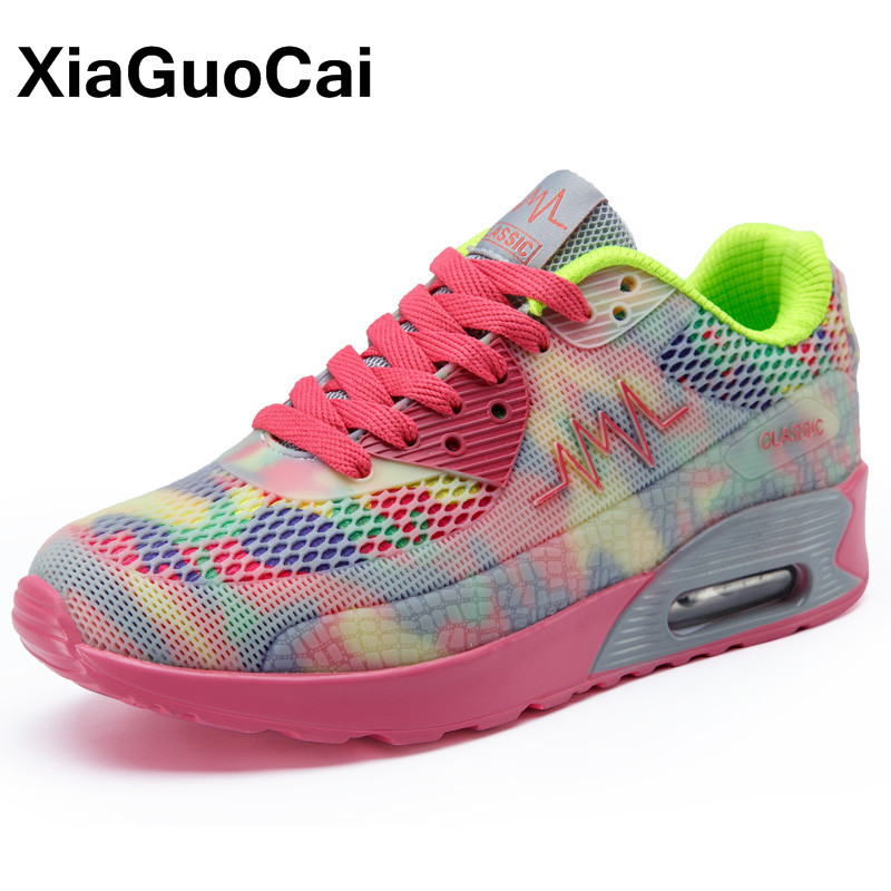 XiaGuoCai Spring Autumn Women's Casual Shoes Fashion Breathable Cushion Women Flats Lace Up Mesh Female Sneakers 2018 Newest men s shoes fashion breathable air cushion casual shoes men lace up red blue spring autumn walking jogging shoes mens trainers