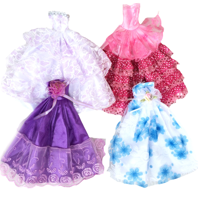 8fde45ebb6834 US $3.4 15% OFF|5 Pcs Set Dolls Toys Party Princess Dresses Gown Outfits  Clothes Accessories Playsets for Barbie Doll Kids Girls Birthday Gifts on  ...