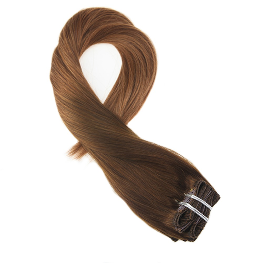 Moresoo Remy Clip In Human Hair Extensions Ombre Brown Color #T4/30 Thick Double Weft Full Head Real Hair Extensions 7Pcs 100g
