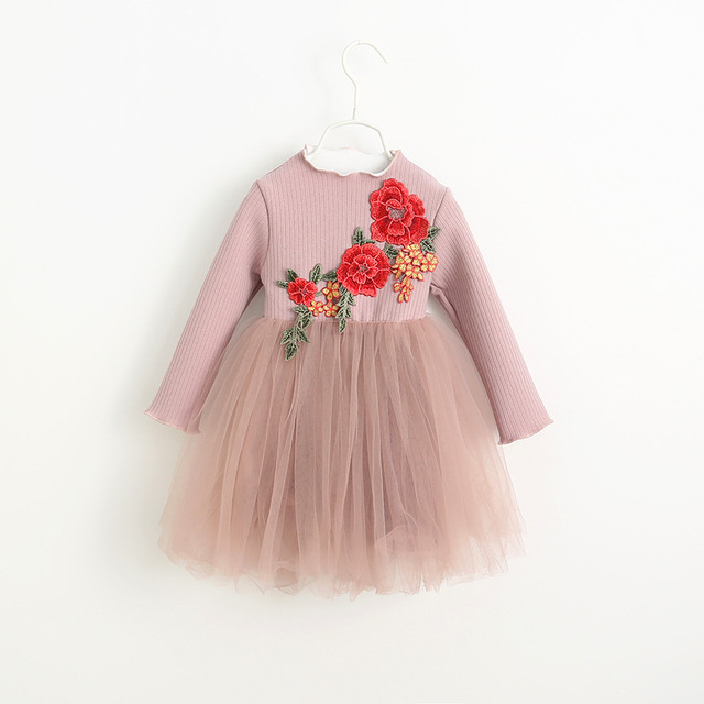 EMS DHL Free shipping Wholesale Winter Autumn New girls Princess Children's peony embroidery Dress Tulle 2-7 Years Pink Blue