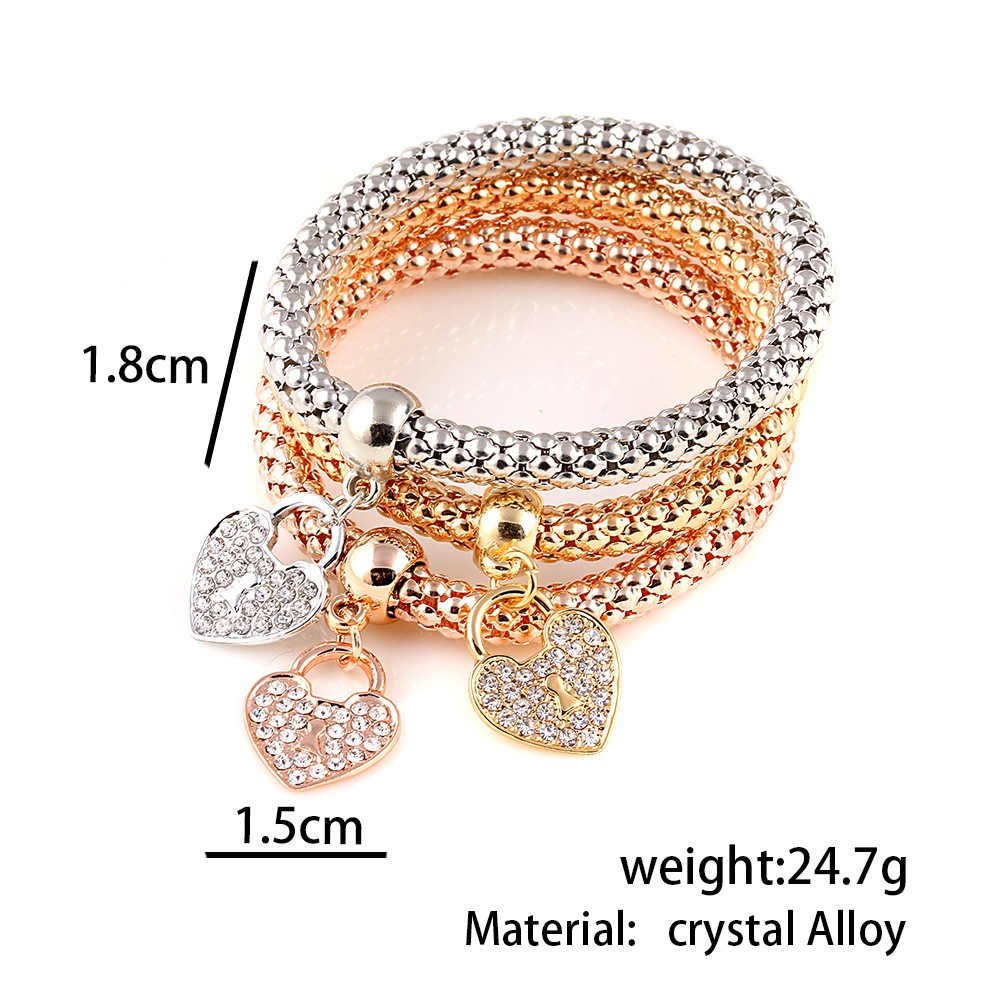 2016-Gifts-3Pcs-Gold-Filled-Heart-Charm-Elastic-Bracelets-For-Women-Pulseras-Bracelet-Cute-Multilayer-Bangles (2)