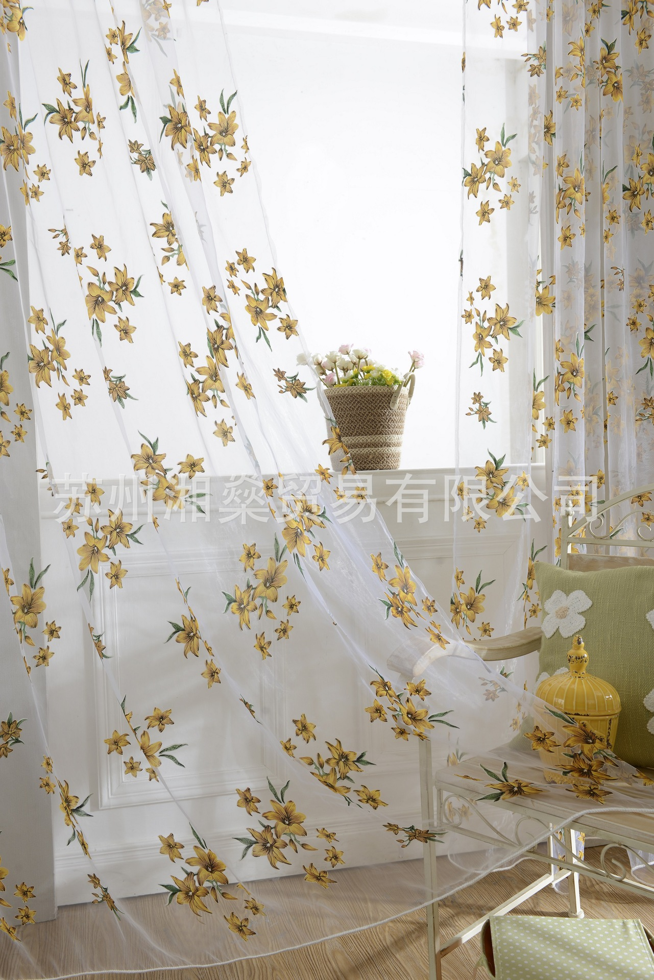 Curtain For Balcony: Floral Design Tulle Curtain Fabrics Beautiful Sheer Panel