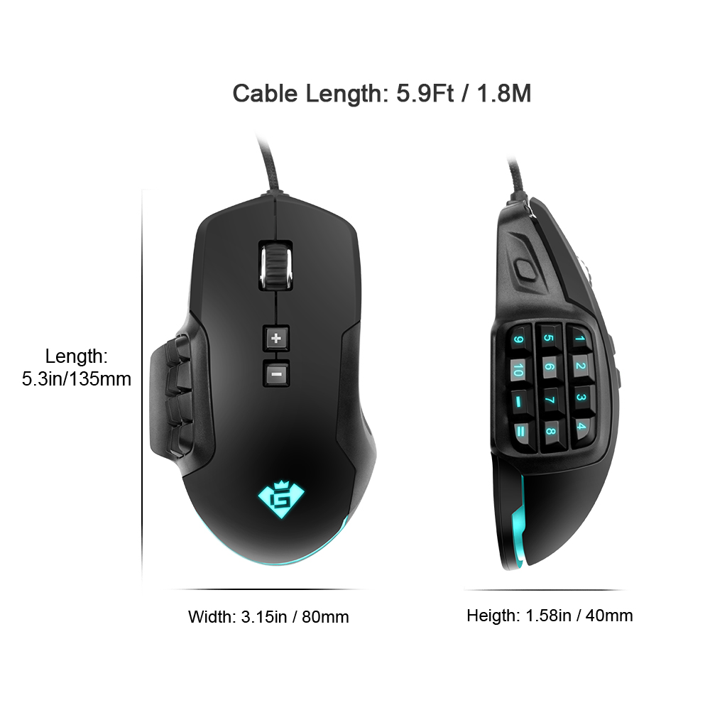 Rocketek USB wired Gaming Mouse 24000 DPI 16 buttons RGB laser programmable game mice backlight ergonomic for laptop computer in Mice from Computer Office