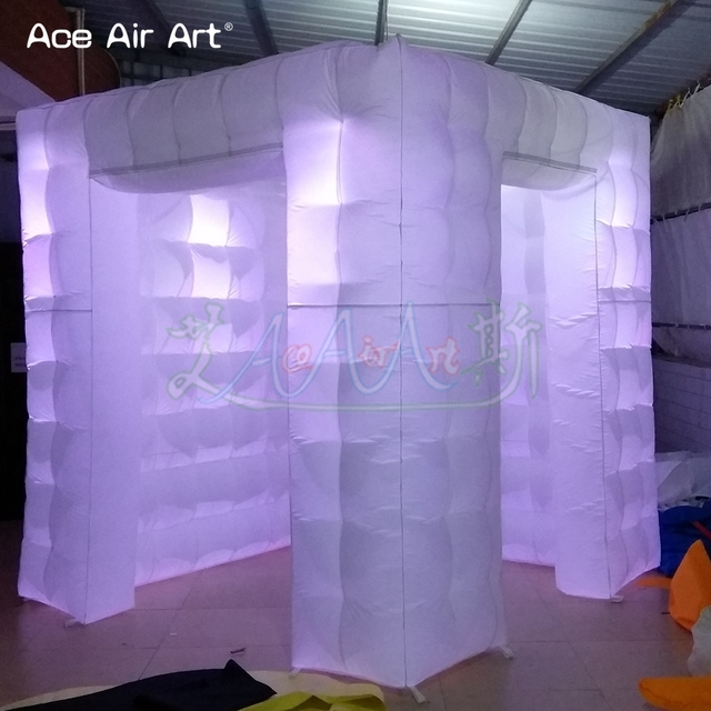 Scientific door size design inflatable photo booth props,led lighting cube tent with attached curtain and different size doors