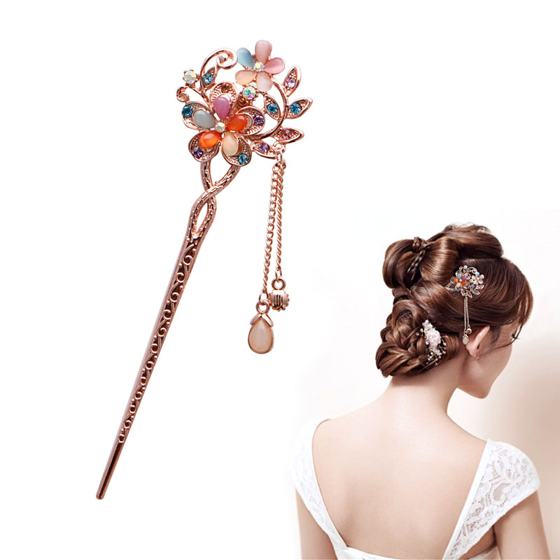 Elegant Charm Double Flowers Bobby Pin Mixed Color Hairpin Rhinestone Hair Stick NEW SALE