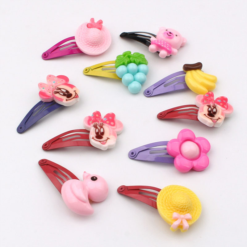 10PCS Hairpins For Children 2019 Hair Clips For Girls Cartoon Handmade Barrettes Cartoon Fruit Flower  Gum Scrunchie