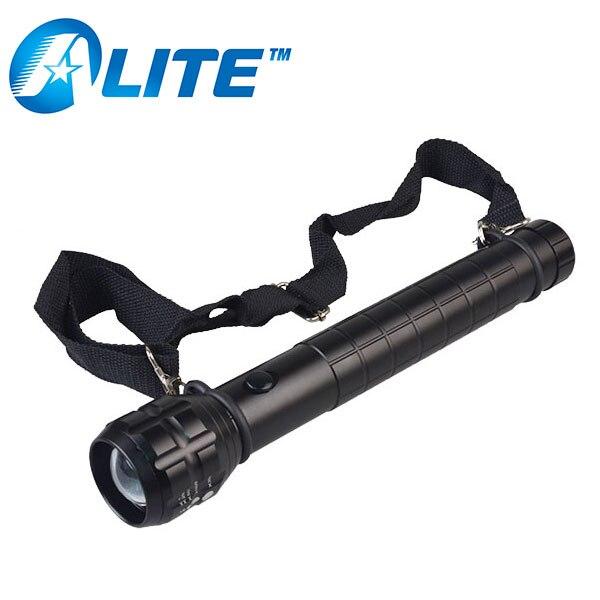 [FREE Ship] Heavy Duty Big Torch Light XP-E Q5 LED D Size Battery Metal Aluminum Zoom Linterna Flashlight with Strap