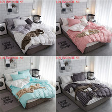 LOVINSUNSHINE 2018 New Design Strip Bedding Set Pink Black White green King Queen Size Duvet cover with Pillowcase 2pcs/3pcs(China)