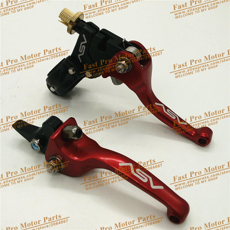 Aluminum alloy ASV Clutch and Brake Folding Lever Fit Most Of Motorcycle Dirt Pit Bikes parts WR CRF KLX YZF RMZ alloy aluminum clutch lever brake lever fit crf klx apollo xmotos kayo pit dirt bike parts free shipping xmotos abm racer