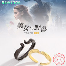 BOSCEN 925 Sterling Silver Couple Ring For Women Men Girl Boy Birthday Gift 2019 Romantic Beauty and the beast Horn Black gold(China)