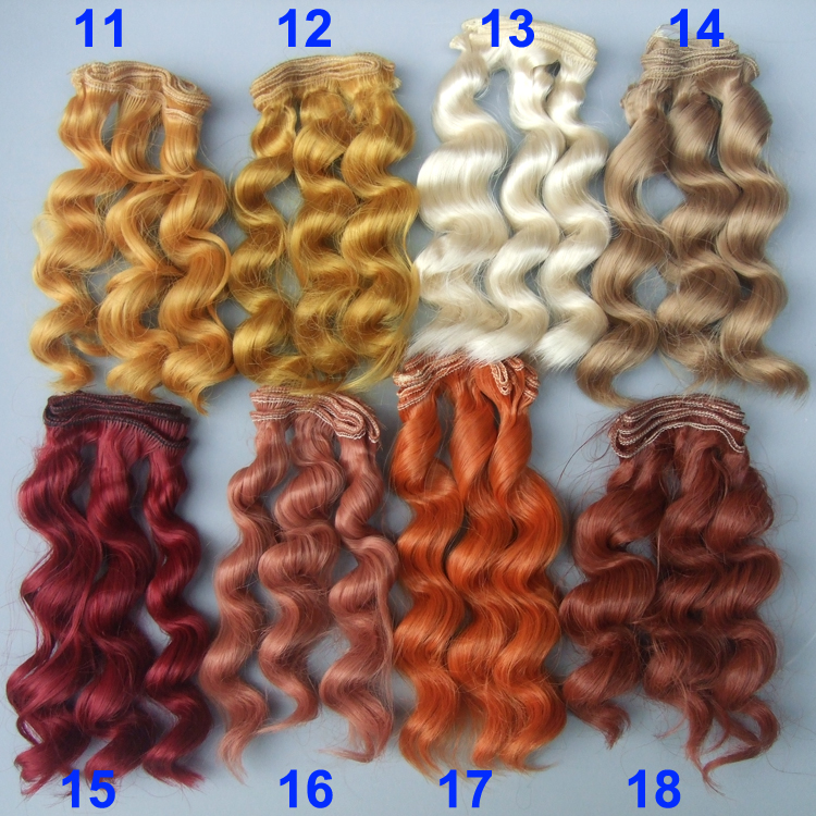 1piece 15cm curly wigs hair for doll brown yellow red wine color Hair Natural Color Wigs for BJD Doll hair