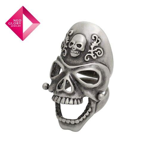 Neoglory Alaşım Gümüş Kaplama Kafatası Kafaları Erkekler Yüzük Vintage Takı Aksesuar Tasarımcısı Hediye Moda Mücevherat Sıcak Satış