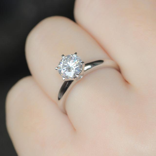 14K 585 White Gold 1CT Diamond Engagement Wedding Ring