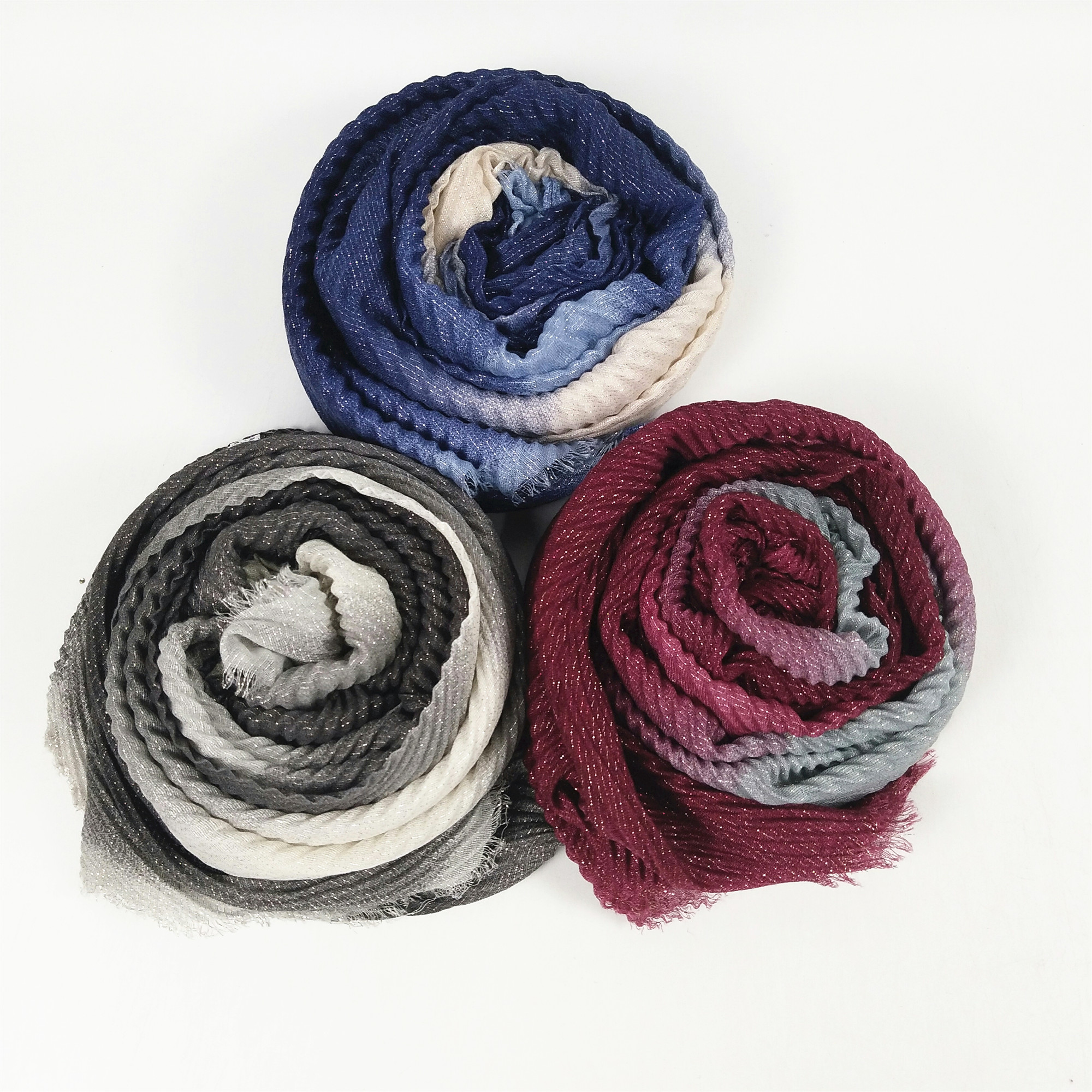 Crinkle Hijab Women Scarf Scarves  Ombre Glitter  Lady Shawl With Glitter  Crumple  Headband Wrap   10pcs 1lot