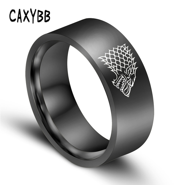 Gold Black Color Silver Stainless Steel Men Game Ring of Thrones House Stark Win