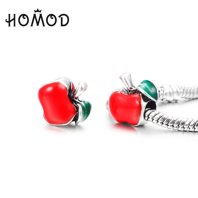 3c181f2d7 HOMOD Fashion Red Apple Interchangeable Silver Plated Charms Beads Fit Pandora  Charms Bracelets Woman DIY Making Jewelry