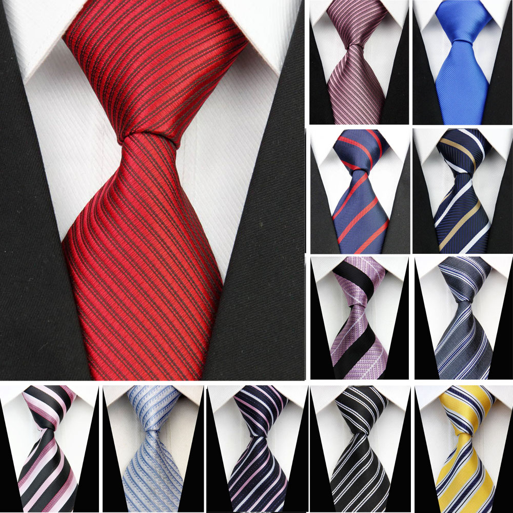 Formal Business Necktie For Men Striped Solid Corbata Males Wedding Suite Accessories Pa ...