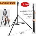 Foto 48-137 inch/123-350 cm Light Stand Max Belasting 15 kg/33lb Heavy Duty ondersteuning Stand voor Studio Softbox Reflector Achtergrond
