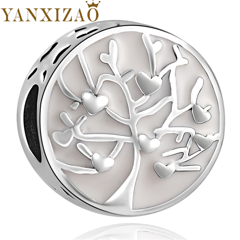 Yanxizao 2018 New Silver 925 CZ Charm Beads Fit Pandora Original Tree Love Shape Pandora Charm DIY Jewelry Heart Originals GW378