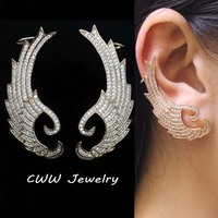 High Quality Rose Gold Filled Fashion Micro Pave Luxury Big Cubic Zircon Diamond Ear Cuff Clip