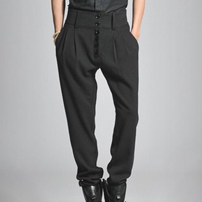 2017 Большие размеры Мужские штаны 27-44 Мужские Брюки повседневные штаны-шаровары пуговицы в высокой талией красивый загрузки вырезать джинсы