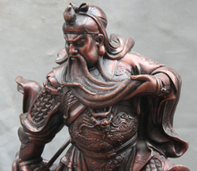 free shipping S0083 19″ Chinese Fengshui Bronze Stand Dragon Guan Gong Yu Warrior God Sword Statue