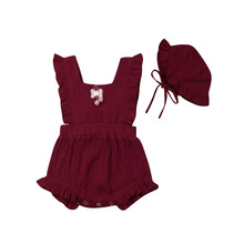 0-24M Newborn Baby Girl 5 Colors 2Pcs Outfits Flutter Sleeve Solid Ruffle Bow Tassel Romper Strappy Hat Summer Clothes Sets недорого